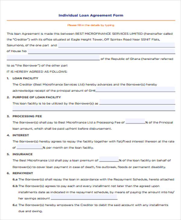 Doc499644 Money Lending Contract Template Loan Agreement – Loan Agreement Contract