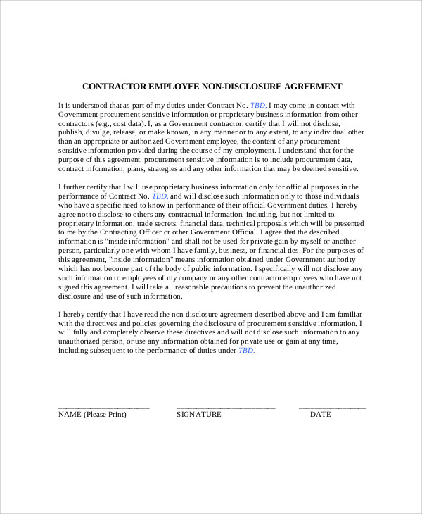 contract employee non disclosure agreement
