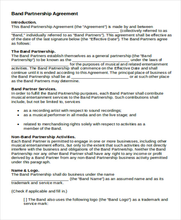 Partnership Agreement Contract Sample   Examples In Word Pdf