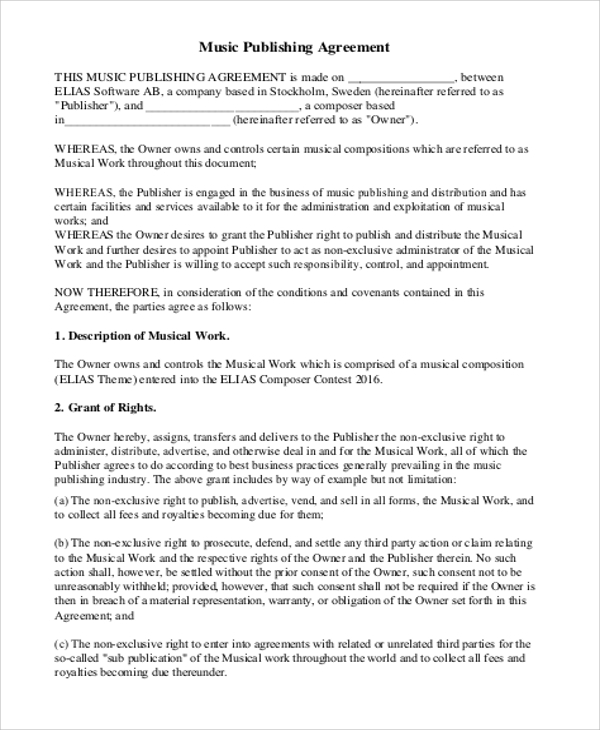Music Agreement Contract Sample   Examples In Word Pdf
