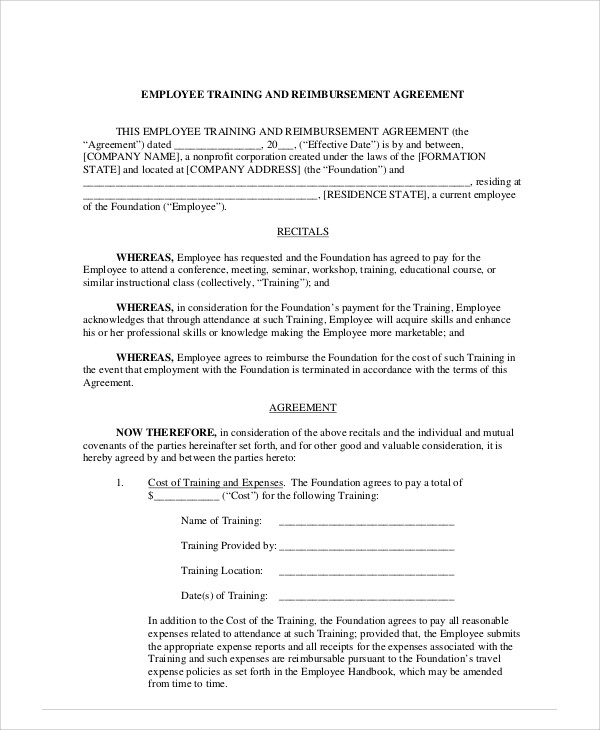18 Sample Contract Employee Agreements