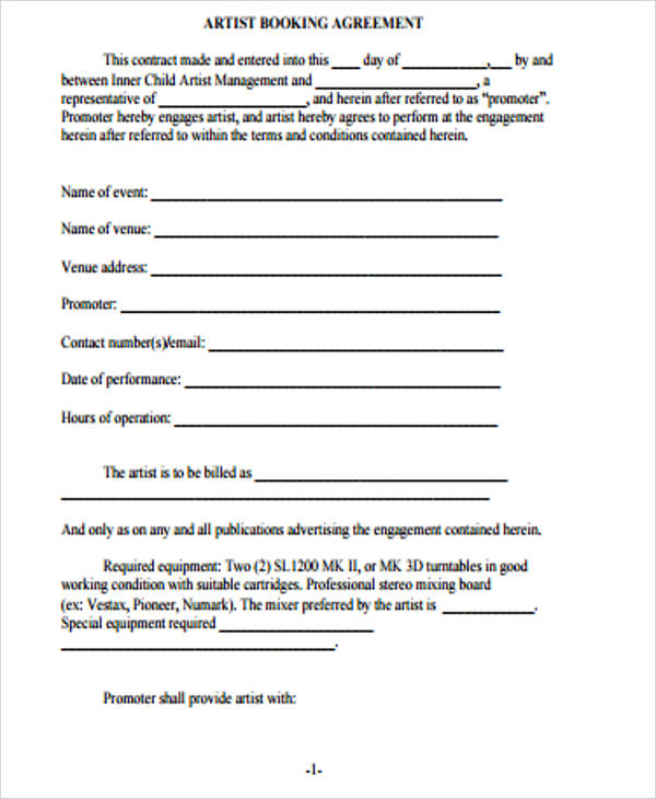 artist booking agreement contract