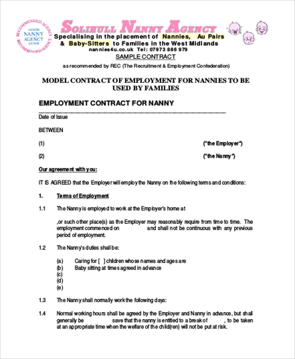 Nanny Agreement Contract Sample   Examples In Word Pdf