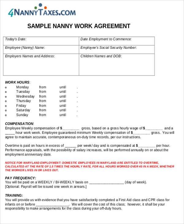 Nanny Agreement Contract Sample 7 Examples in Word PDF – Nanny Agreement Contract