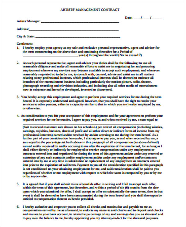 Artist Agreement Contract Sample   Examples In Word Pdf
