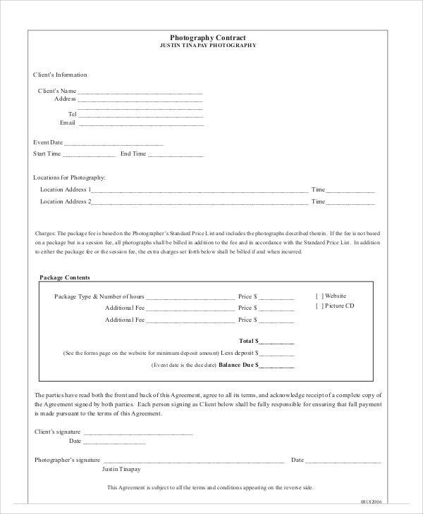 sample photography agreement contract