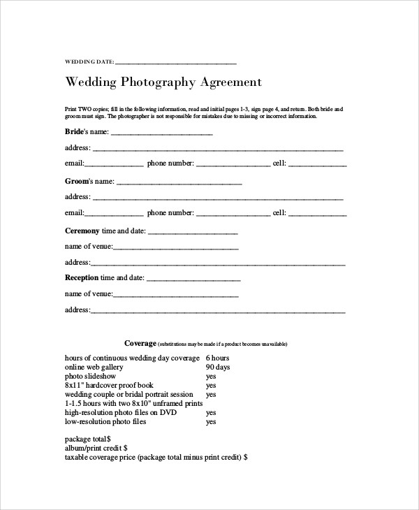 Photography Agreement Contract Sample   Examples In Word Pdf