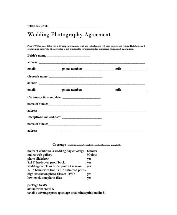Wedding Contract Templates Bilder