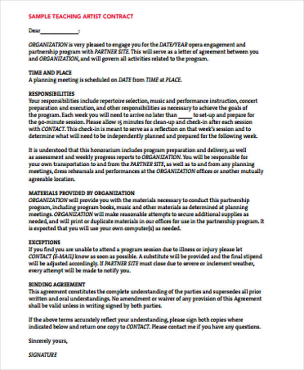 Artist Agreement Contract Sample - 9+ Examples In Word, Pdf