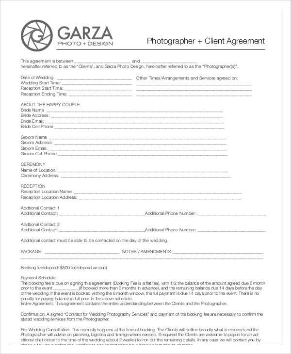Photography Agreement Contract Sample 7 Examples in Word PDF – Photography Services Contract