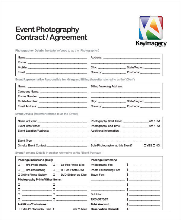 event photography agreement contract