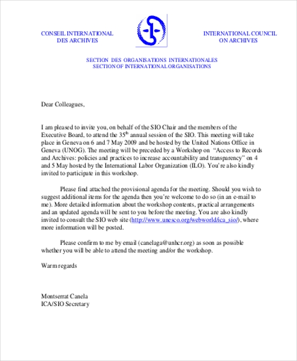 Sample Formal Invitation Letter   Examples In Word Pdf