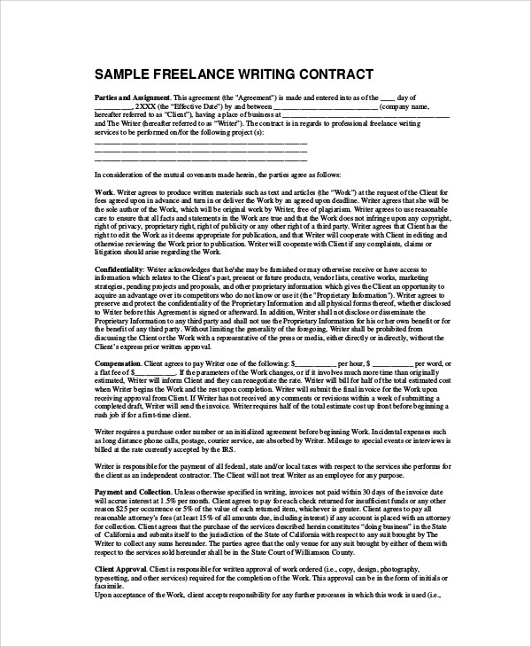 Sample Freelance Contract Agreement   Examples In Word Pdf