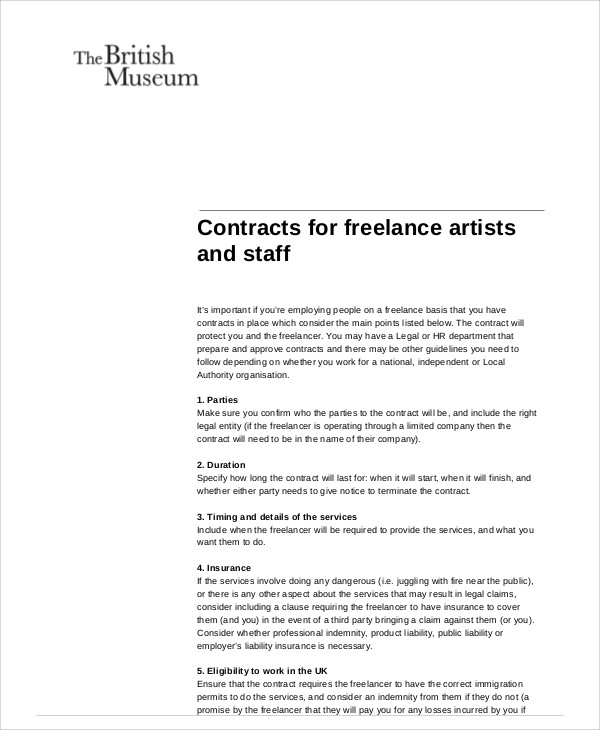 Freelance Contract Samples  Templates  Word Pdf