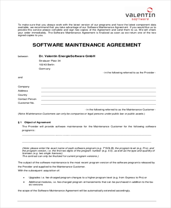 6 sample maintenance contract agreements sample templates