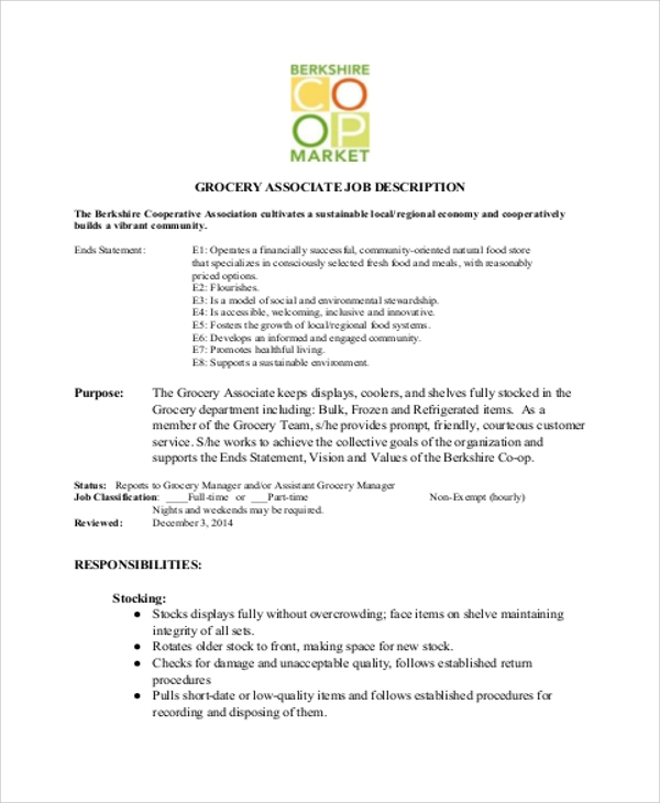 4+ Stock Associate Job Description Samples | Sample Templates