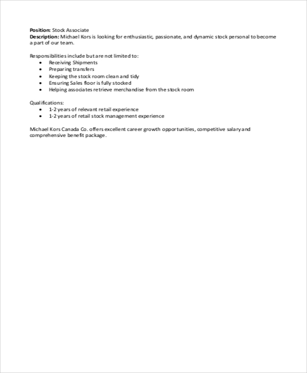 Stock Associate Job Description Sample   Examples In Word Pdf