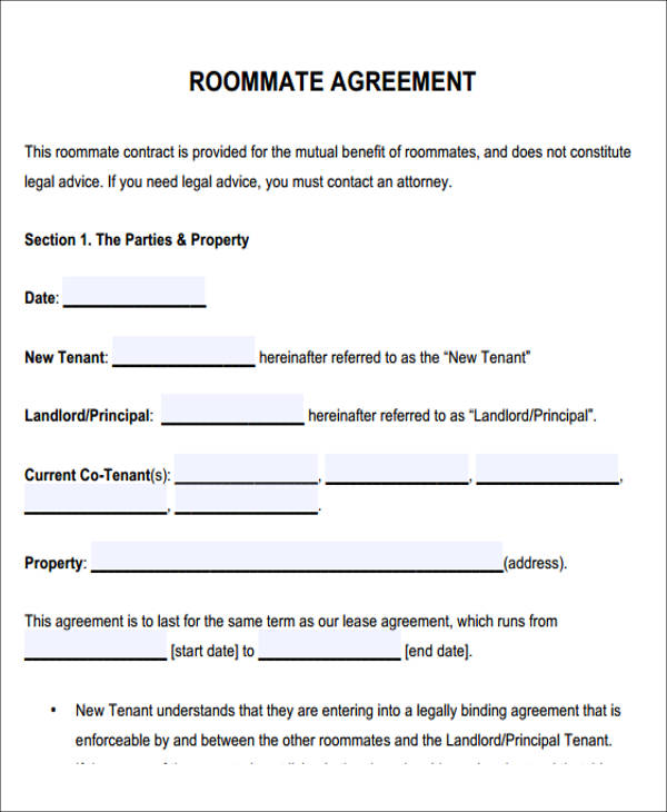 7 sample roommate rental agreement forms sample templates for Roommate agreement template free