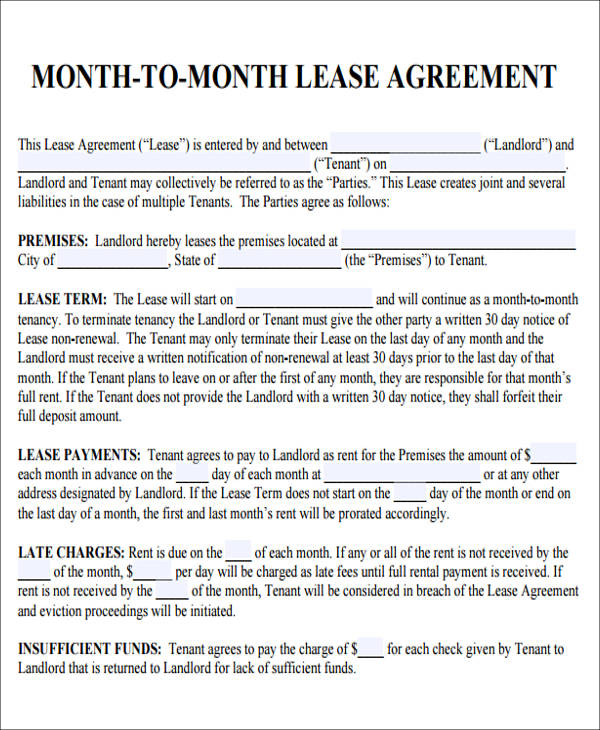 Roommate Month To Month Rental Agreement