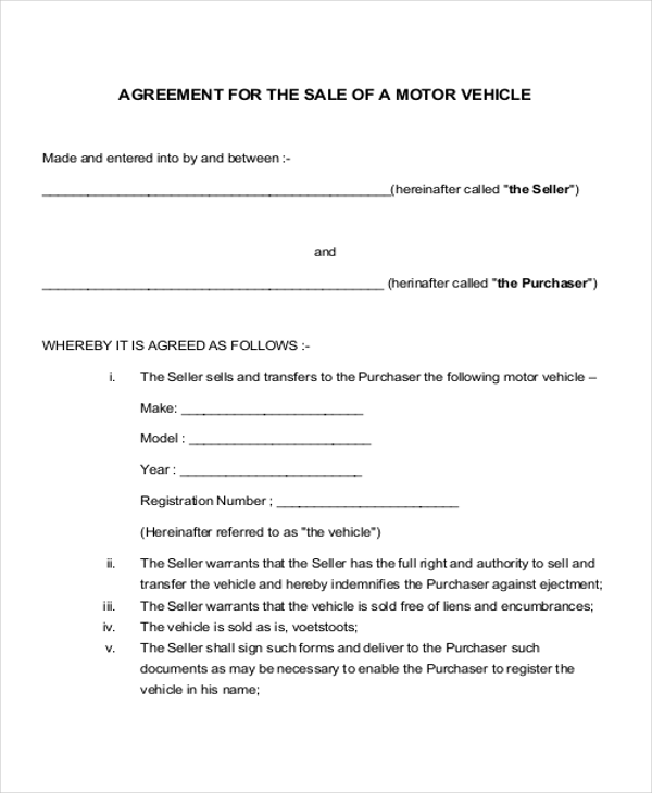vehicle purchase agreement sample