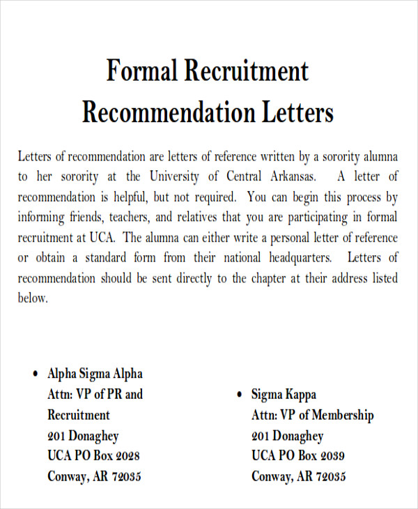 sample sorority recommendation letter examples in word pdf - Sorority Resume Template