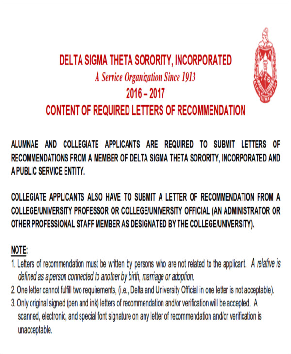 6 sample sorority recommendation letters sample templates