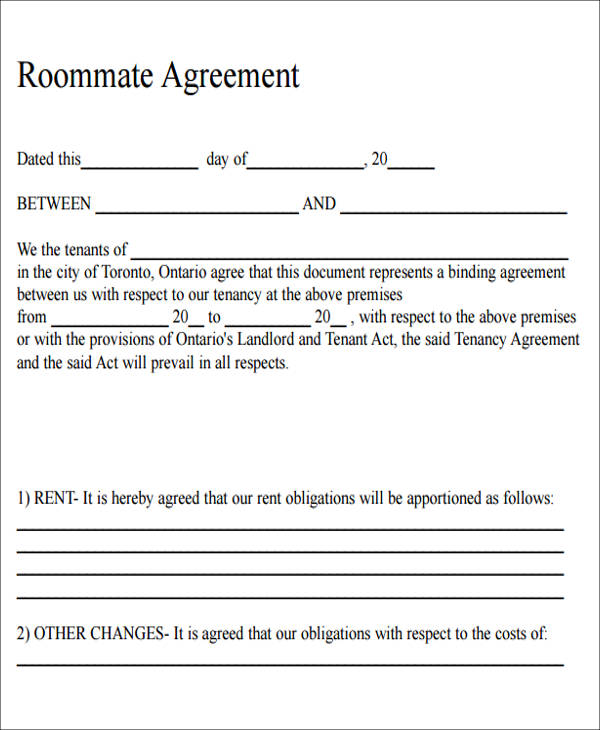 6 Sample Roommate Rental Agreement Form Examples in Word PDF – Sample Room Rental Agreement