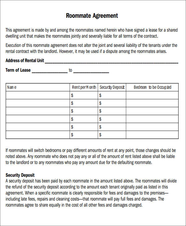 7+ Sample Roommate Rental Agreement Form - Examples in Word, PDF