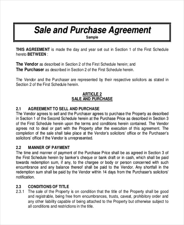 sale and purchase agreement pdf