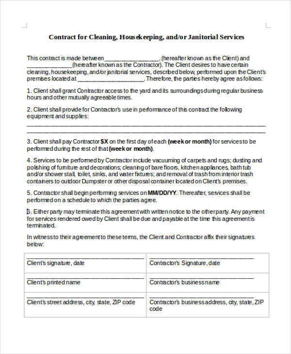 Sample Cleaning Contract Agreement   Examples In Word Pdf
