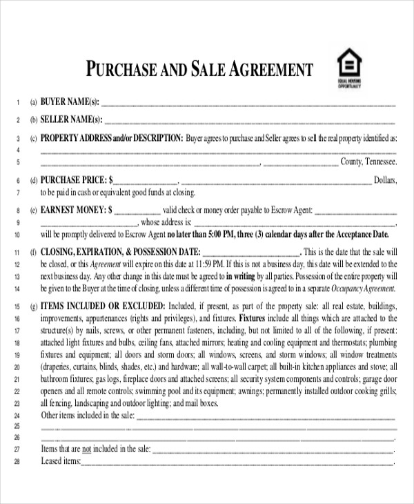 free printable purchase agreement