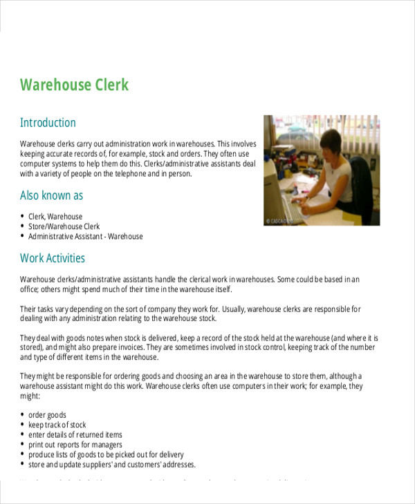 Stock Clerk Job Description Sample   Examples In Word Pdf