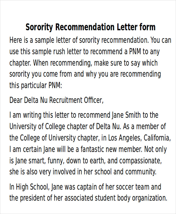 Sample Sorority Recommendation Letter   Examples In Word Pdf