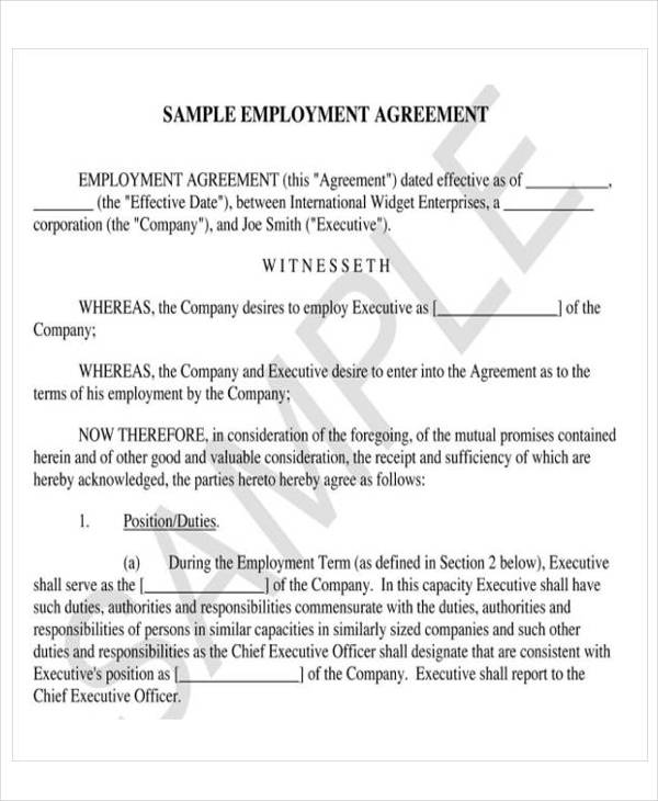 ceo employment contract template - 12 sample employment agreements sample templates