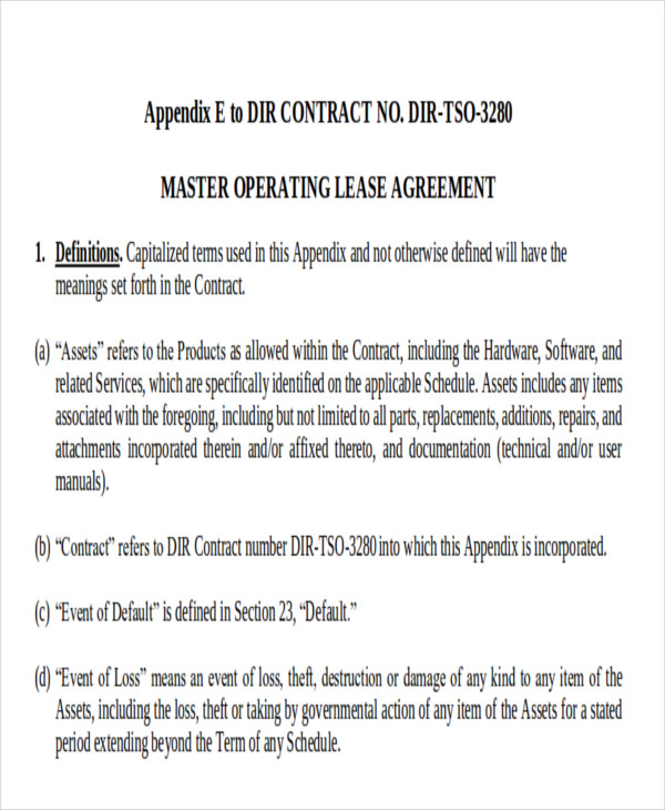 7 Master Lease Agreement Sample Examples in Word PDF – Lease Agreement Example