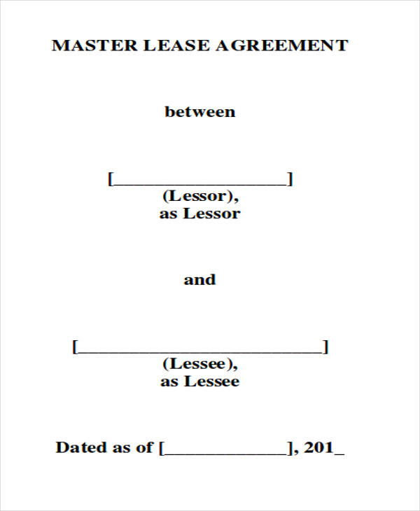7 Master Lease Agreement Samples Sample Templates