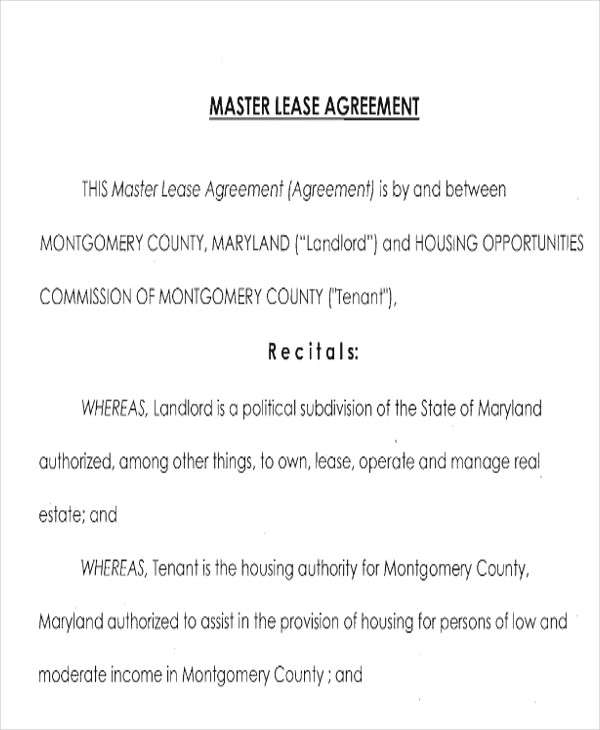 Master Lease Agreement Sample  Examples In Word Pdf