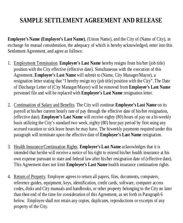 sample employment settlement agreement
