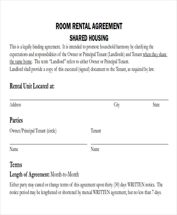house sharing agreement template - 8 room rental agreement form samples sample templates
