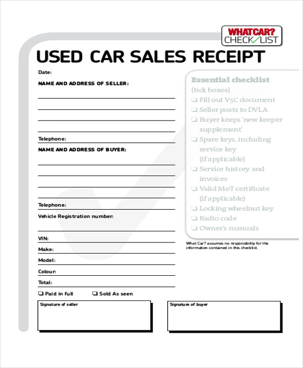 Used Car Sales Cash Receipt In PDF  Cash Recepit