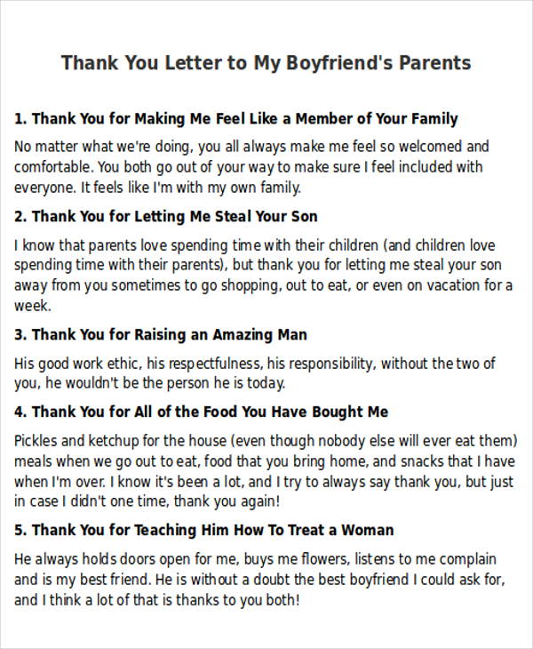 Thank You Letter To My Boyfriendu0027s Parents