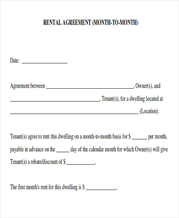 Month To Month Room Rental Agreement Form Sample