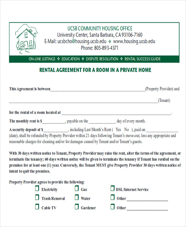 residential room rental agreement form sample