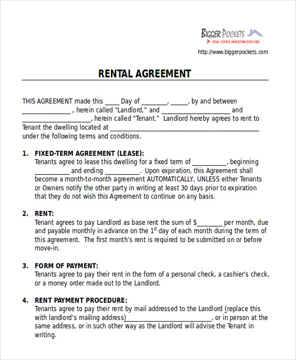 blank room rental agreement form pdf