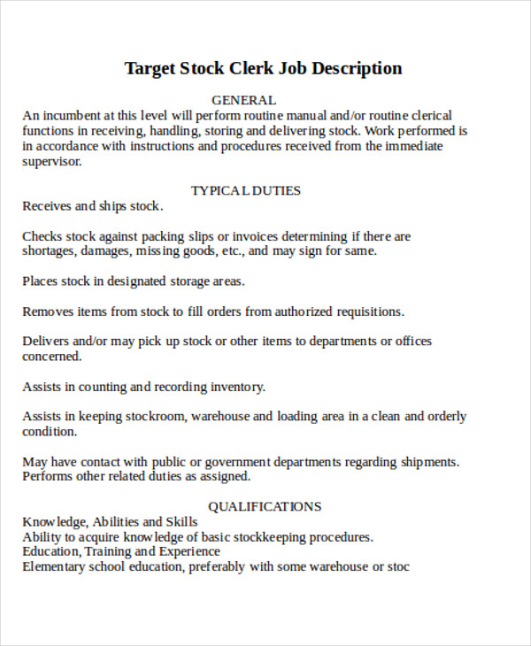 Stocker Job Duties Resume cashier job description for resume – Stocking Jobs at Target