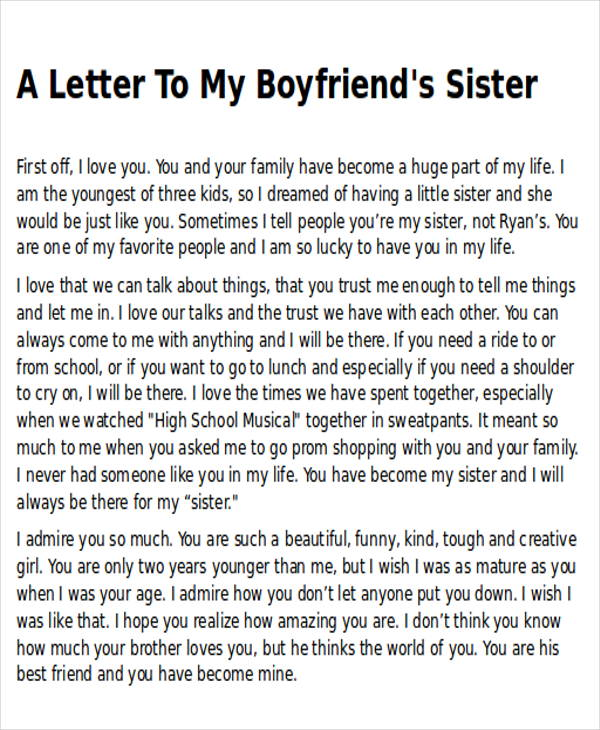 thank you letter to my boyfriend sister