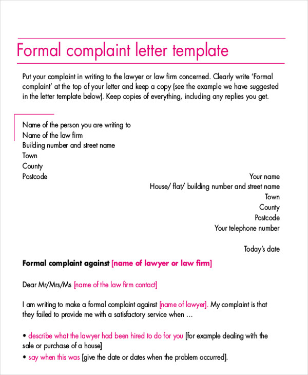 Complaint Words Sample Formal Complaint Letter  7 Examples In Word Pdf
