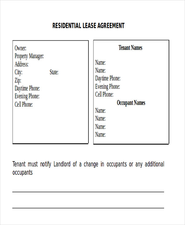 residential lease rental agreement form doc