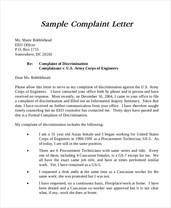 Complaint letter sample samplecomplaintletterphpappthumbnail jpgcb sample formal complaint letter examples in word pdf spiritdancerdesigns Choice Image