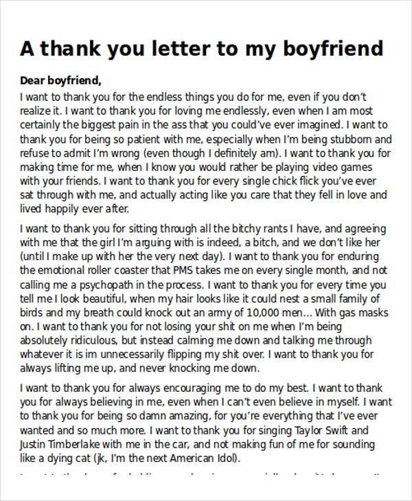 thank you letter for my ex boyfriend